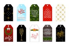 Set of 10 Christmas and New Year holiday gift tags. Vector illustration for your design Stock Photography