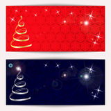 Set of Christmas or New Year horizontal banners sparkling with snowflakes. Vector illustration Stock Photo