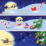 Set of Christmas and New Year horizontal banners w Stock Photos