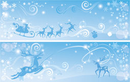 Set of Christmas and New Year horizontal banners w Royalty Free Stock Photo