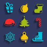 Set of 9 Christmas and New Year icons. Vector. Royalty Free Stock Image