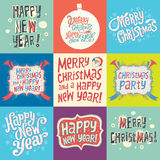 Set of Christmas and New Year labels Stock Photo