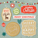 Set of Christmas and New Year lettering. Set of Christmas and New Year vector lettering stock illustration