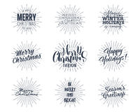 Set of Christmas , New Year 2017 lettering, wishes, sayings and vintage labels. Season`s greetings calligraphy. Holiday. Typography design. Vector isolated Stock Images