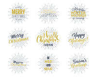 Set of Christmas , New Year 2017 lettering, wishes, sayings and vintage labels. Season`s greetings calligraphy. Holiday. Typography design. Vector Illustration Royalty Free Stock Photography