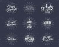 Set of Christmas , New Year 2017 lettering, wishes, sayings and vintage labels. Season`s greetings calligraphy. Holiday. Typography design. Vector isolated on Royalty Free Stock Image