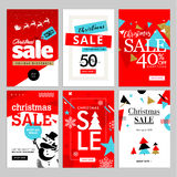 Set of Christmas and New Year mobile sale banners. Vector illustrations of online shopping website and mobile website banners, posters, newsletter designs, ads Stock Photos
