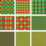 Set of Christmas and New Year plaid seamless patte Stock Photos