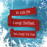 Set of Christmas and New Year red paper Ribbons Stock Photo