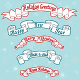 Set of Christmas and New Year ribbons. Christmas decoration coll Royalty Free Stock Photos