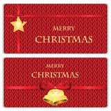 Set of Christmas and New Year's backgrounds. Christmas decorations on the knitted background Royalty Free Stock Photos