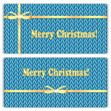 Set of Christmas and New Year's backgrounds with place for your. Text.Gold ribbon on a blue  knitted background Royalty Free Stock Photography