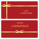 Set of Christmas and New Year's backgrounds with place for your. Text.Gold ribbon on a red knitted background Royalty Free Stock Photo