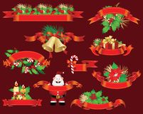 Set of Christmas and New-Year's decorations Stock Images