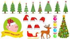 Set of Christmas and New Year`s elements. Santa Claus hat, Christmas tree, Christmas decorations. Sleigh with Santa Claus hat and deer royalty free illustration