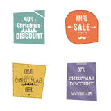 Set of Christmas, and new year sale labels, tags with a winter holiday symbols. design Stock Images
