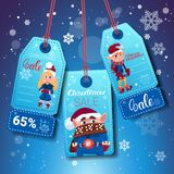 Set Of Christmas And New Year Sale Tags With Elfs On Blue Snowflakes Background. Flat Vector Illustration vector illustration