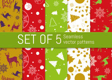Set of 5 Christmas and New Year seamless pattern. For wrapping paper pattern. Set of 5 Christmas and New Year seamless pattern. Good for design cards or posters stock illustration