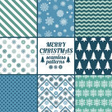 Set Of Christmas And New Year Seamless Patterns. Set of Christmas and New Year seamless patterns with snowflakes. Blue and white winter scrapbook design Royalty Free Stock Photos