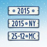 Set Christmas and New year 2015 signboards. Three plate in the style of car number with the date 2015 and abbreviation of Christmas and New Year Royalty Free Stock Photo