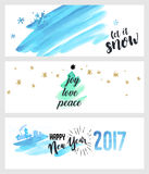 Set of Christmas and New Year social media banners Stock Photo