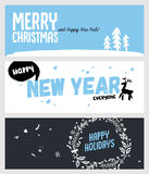 Set of Christmas and New Year social media banners. Hand drawn vector illustrations for website and mobile banners, internet marketing, greeting cards and Stock Image