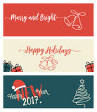 Set of Christmas and New Year social media banners. Vector illustrations for website and mobile banners, internet marketing, greeting cards and printed stock illustration