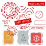 Set of Christmas and New Year stamps. Vector illustration Stock Photos