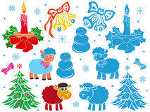 Set of Christmas and New Year stencils Stock Photography