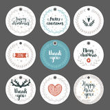 Set of Christmas and New year tags Stock Photos