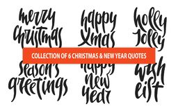 Set of 6 Christmas and New Year vector hand drawn unique typography design elements for posters, greeting cards, decoration, print Royalty Free Stock Photography