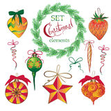 Set Christmas and New Year vintage  holiday symbols for greeting cards Stock Images