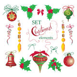 Set Christmas and New Year vintage  holiday symbols for greeting cards Stock Photo