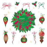 Set Christmas and New Year vintage  holiday symbols for greeting cards Stock Photos