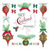 Set Christmas and New Year vintage  holiday symbols for greeting cards Royalty Free Stock Photography