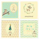 Set of Christmas  and New Year vintage postcard Royalty Free Stock Images