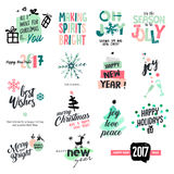 Set of Christmas and New Year vintage style badges and stickers. Hand drawn watercolor vector illustrations for greeting cards, website design, gift tags and stock illustration