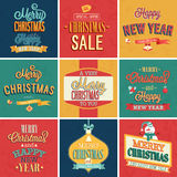 Set of Christmas and New Year vintage typographic. Emblems. Vector illustration Royalty Free Stock Image