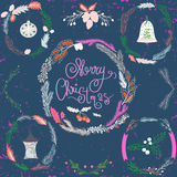 Set of Christmas and New Year wreath and other design elements. Christmas decoration collection, leaves, berries. Stock Image