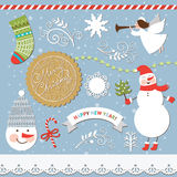 Set of Christmas and New Years elements. Set of Vintage Christmas and New Years elements Vector Illustration
