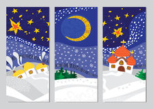 Set of Christmas Night Landscape cards Royalty Free Stock Photos