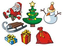 Set of Christmas objects. Vector illustration Royalty Free Stock Photo