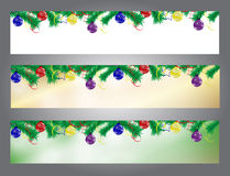Set Christmas вorder. Banner with fir branches and balls. Ribbons. Vector illustration Stock Photo