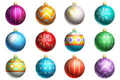 Set of Christmas Ornaments. A collection of 12 different Christmas Ornaments. Each ornament has a different design such as polka dots, hearts, zig-zags, lines Stock Photo