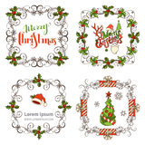 Set of Christmas ornate frames. Royalty Free Stock Images