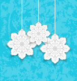 Set Christmas paper snowflakes on blue grunge back Stock Photography