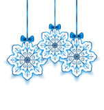 Set Christmas paper snowflakes with bow isolated o Royalty Free Stock Photos