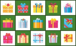 Set Christmas Parcel Package Icons Decor Wrapping. Set of Christmas parcel package icons in decorative wrapping paper with bows and ribbons vector , present gift Royalty Free Stock Photography