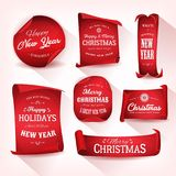 Set of Christmas Parchment Scroll royalty free illustration