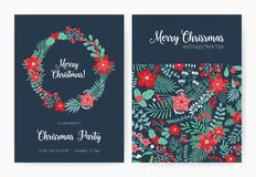 Set of Christmas party invitation, event announcement flyer or greeting card templates with traditional holiday natural. Decorations - holly leaves and berries Royalty Free Stock Image